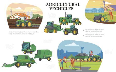 Composición colorida de agricultura plana Ilustración de vector