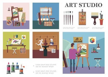 Flat art studio elements composition with man drawing picture artist workplace sculptures different professional painting tools and equipment vector illustration