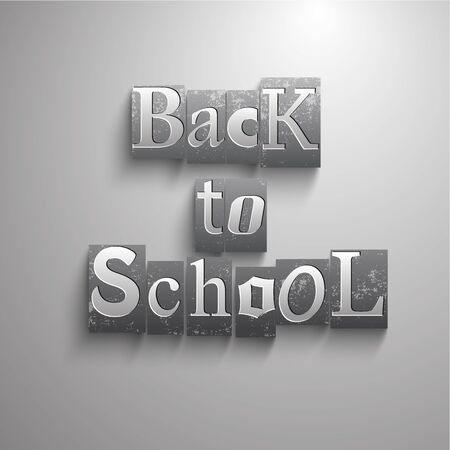 Gray school composition with isolated rectangular elements with letters combined in back to school headline vecior illustration Çizim