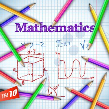 Back to school background with sketch hatching mathematical elements and colorful pencils on paper sheet vector illustration Zdjęcie Seryjne - 128174666