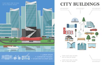 Flat city colorful concept with yacht on water near modern hotel municipal buildings Illustration