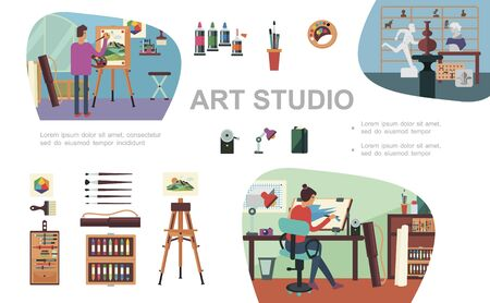 Flat art studio composition with female and male artists painting