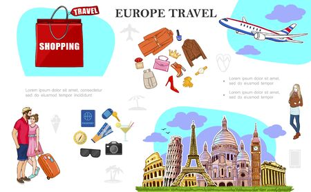 Colorful Travel to Europe concept