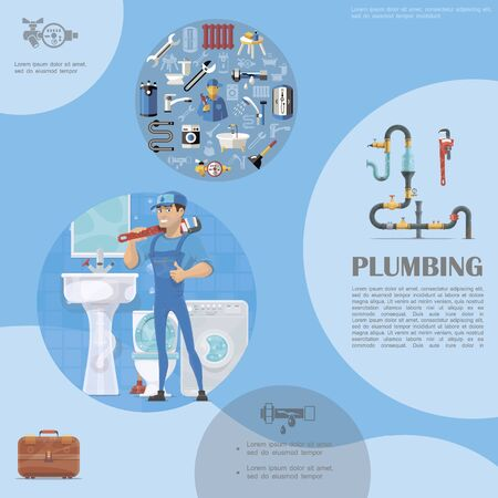 Plumbing colorful template with repairman holding pipe wrench sewage system washbasin washing machine toilet toolbox plumber elements vector illustration Ilustração