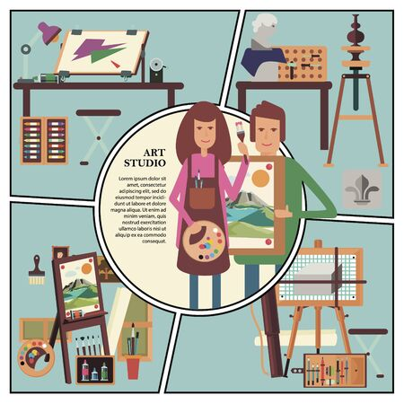 Flat art studio concept with artist and graphic designer workplaces professional tools and equipment vector illustration