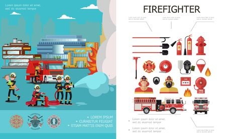 Flat firefighting colorful concept with rescue brigade extinguishing fire firemen alarm bell bucket axe fire truck hose extinguishers hydrants gas mask shovels vector illustration