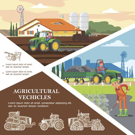 Flat farming colorful template with farmers harvesting crop and transporting ground using agricultural vehicles Zdjęcie Seryjne - 129245264