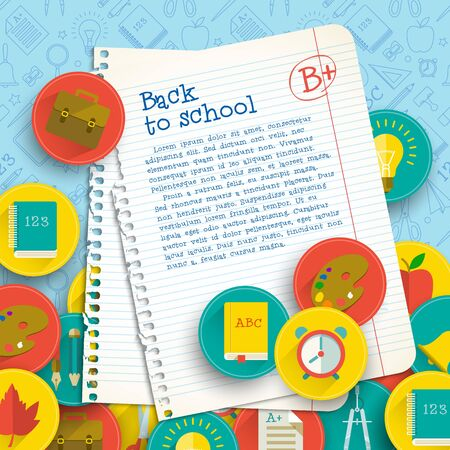 Education colorful  with paper notes marks text school supplies on line icons
