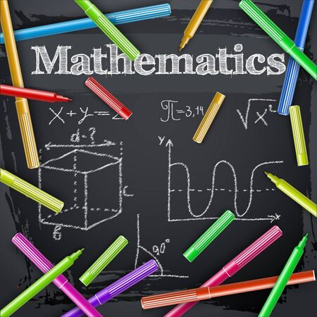 Colorful markers around hand drawn lettering mathematics equation graph and angle on blackboard vector illustration