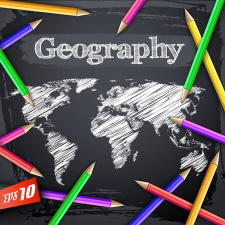 Education geographic  with hatching world map and colorful pencils on black chalkboard