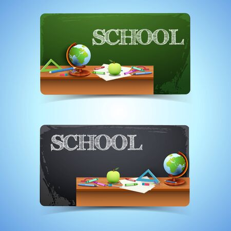 Education horizontal banners with hatching inscription realistic school supplies on table and chalkboard