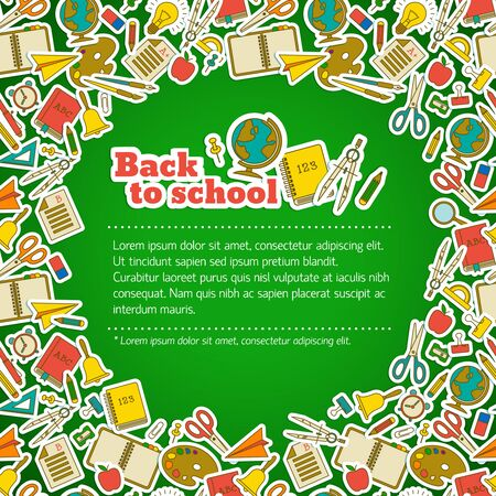Back to school composition with school accessories icon set around in the corners Ilustracja
