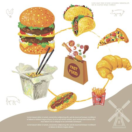 Hand drawn fast food round concept with burger tacos pizza slice croissant french fries hotdog noodles fastfood paper bag vector illustration