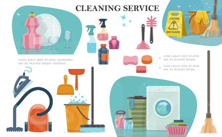 Cartoon cleaning service composition Ilustracja