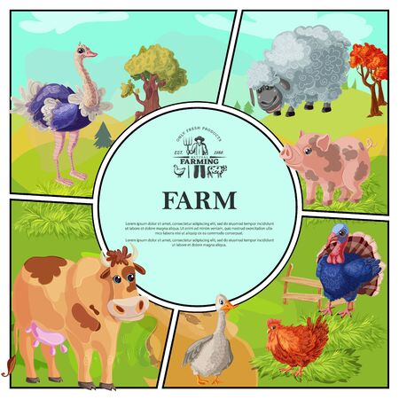 Cartoon farm colorful composition with ostrich sheep pig cow goose chicken turkey on nature landscape vector illustration