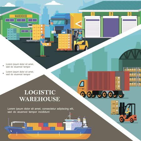 Flat logistics colorful template with storage workers transporting boxes using forklift truck loading process and cargo ship vector illustration
