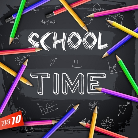 Back to school  with sketch inscription hand drawn elements colorful pencils on black chalkboard Ilustracja
