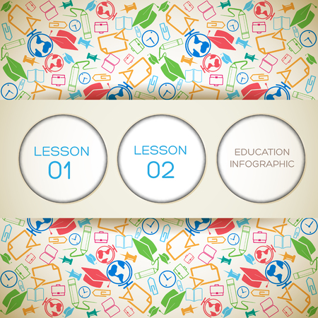 Education infographic concept with text paper circles and school elements background vector illustration