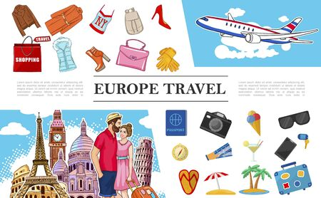 Travel To Europe composition Ilustracja