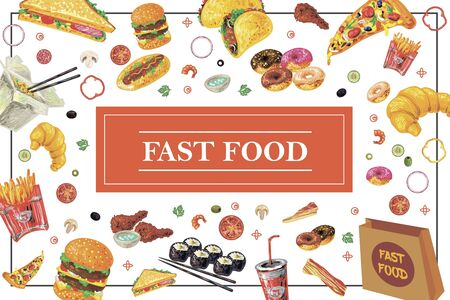 Hand drawn fast food elements template