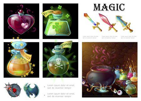 Cartoon game magic elements composition Illustration