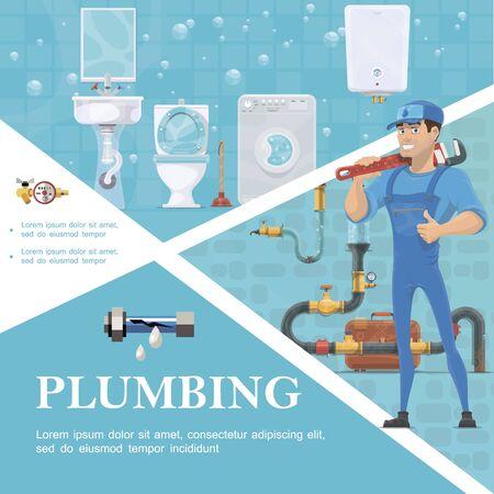 Cartoon plumbing service template