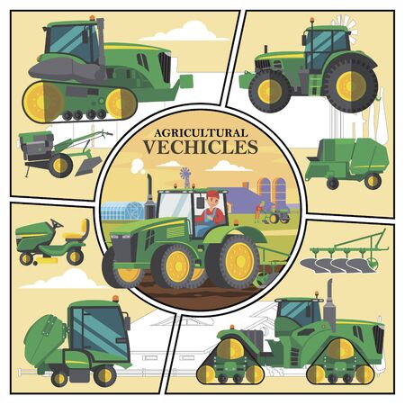 Flat agricultural transport concept with green farm vehicles and farmer driving tractor with plow on field Illustration
