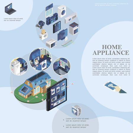 Isometric smart home template with modern household appliances and devices