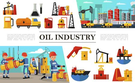 Flat oil industry composition Ilustrace