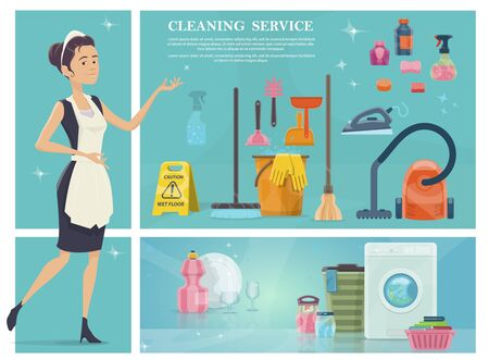 Cartoon house cleaning composition with maid