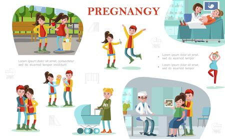 Flat pregnancy colorful composition with happy fathers and pregnant women in different situations Stock Illustratie