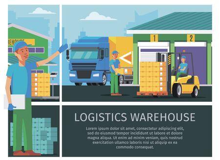 Flat warehouse logistics colorful concept