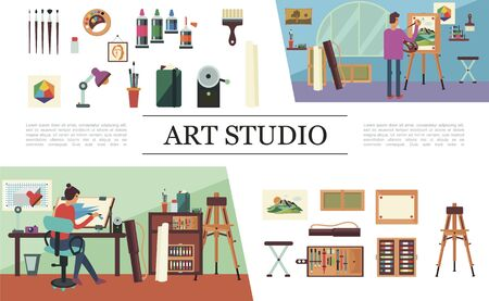 Flat art studio elements composition with working people easel lamp camera painting tools and equipment Ilustracja