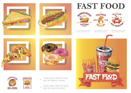 Sketch fast food composition Ilustracja
