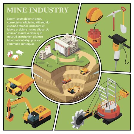Isometric mining industry composition with gold extraction area near factory heavy truck excavator quarry machine hammer drill dynamite gems shovel pickaxe helmet vector illustration