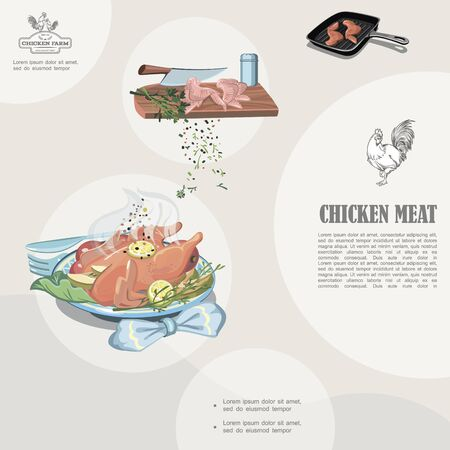 Colorful chicken meat template