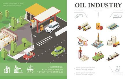 Isometric oil industry concept with cars on gas station Ilustracja