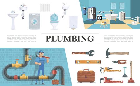 Plumbing elements composition with plumber Ilustracja
