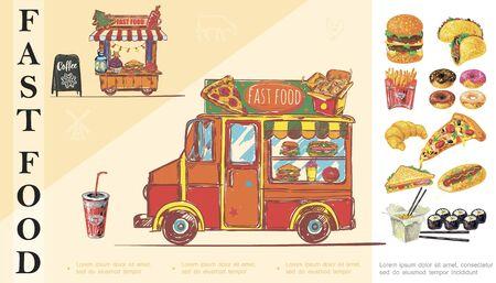 Sketch fast food concept with street food van
