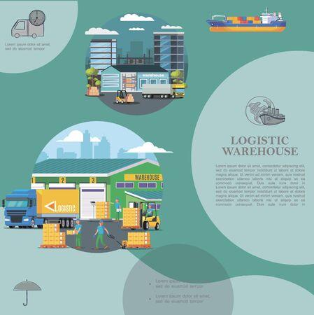 Flat warehouse logistics template