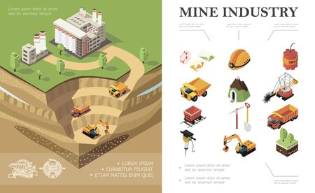 Isometric mining industry concept with factory  イラスト・ベクター素材