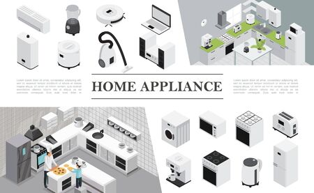 Isometric home appliances composition with father and son cooking