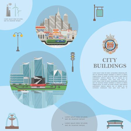 Flat city elements template with modern cityscapes 向量圖像