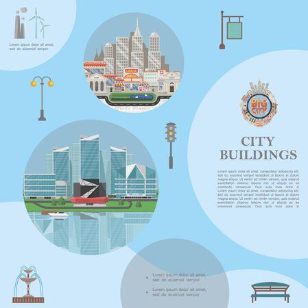 Modello di elementi di città piatta con paesaggi urbani moderni