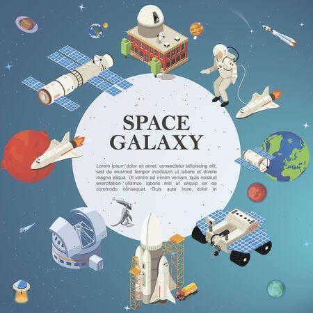 Isometric space round concept 矢量图像