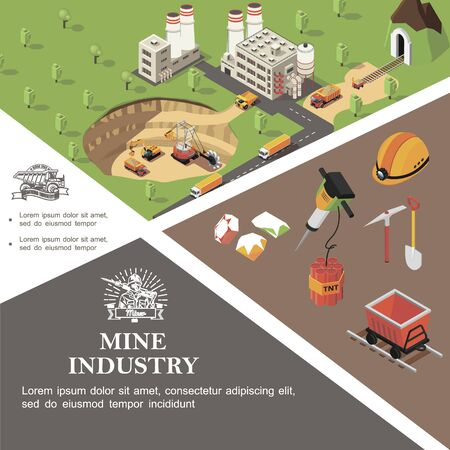 Isometric mining industry colorful template