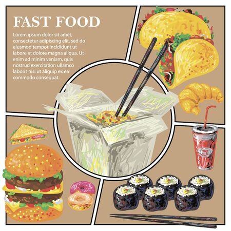 Sketch fast food colorful composition