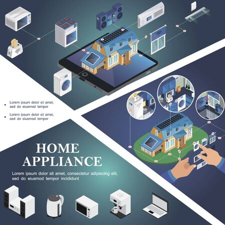 Isometric smart home template Vectores