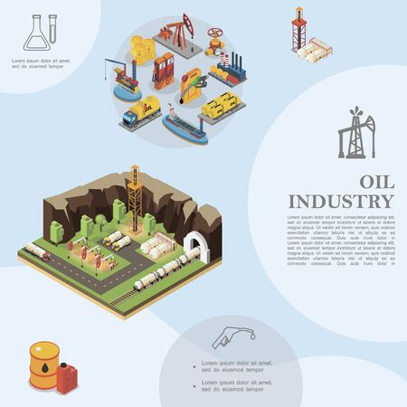 Isometric oil industry template Vectores