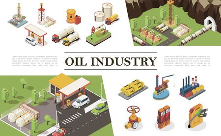 Isometric oil industry elements composition Ilustracja